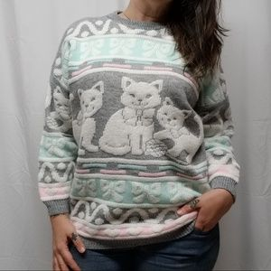 vtg 80s Kitty Cat Fairy Kei Kawaii Pastel Sweater